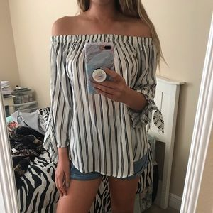 AGACI off the shoulder striped top
